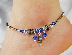 Anklet, Ankle Bracelet, Sapphire Blue Anklet, September Jewelry Beaded Anklet, Dangle Anklet, Ankle Jewelry, Summer Anklet, Crystal Anklet