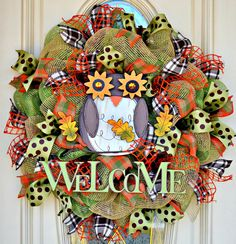 Fall owl wreath, fall welcome wreath with owl and welcome sign polka dots burlap and plaid  25 inches Autumn welcome wreath for door - pinned by pin4etsy.com