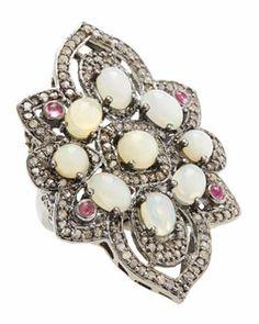 Y226N Bavna Opal, Tourmaline & Champagne Diamond Flower Ring, Size 7