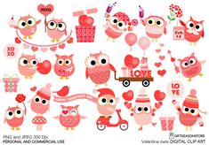 Valentine owls Digital clip art for Personal by Giftseasonstore