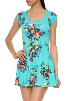 Rainbow Shops Mint Floral Skater Dress With Back Cut-Out $12.99