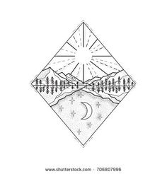 Day Sun and Night Moon Monoline Vector Stock Illustration. Mono line illustration of a day and night symbol with sun and mountains on top and stars and moon below set inside diamond done in black and white. Night Sky Tattoos, Moutain Tattoos, Simple Couples Tattoos, Matching Friend Tattoos, Moon Sun Tattoo, Crystal Drawing, Framed Tattoo, Line Illustration, Retro Illustrations