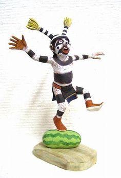 "Hopi KACHINA DOLL 13"" Hand Carved Koshare Clown w/Watermelon - Neil David Sr"