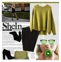 """SHEIN - Green-Round-Neck-Split-Loose-Sweater"" by fashionaddict-il ❤ liked on Polyvore featuring Roberto Cavalli, Giuseppe Zanotti, Ray-Ban, women's clothing, women's fashion, women, female, woman, misses and juniors"