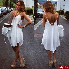 ImageFind images and videos about fashion, style and white on We Heart It - the app to get lost in what you love. Simple White Dress, White Dress Summer, Simple Dresses, Sexy Dresses, Dress Outfits, Casual Dresses, Summer Dresses, Fall Fashion Outfits, Cute Fashion