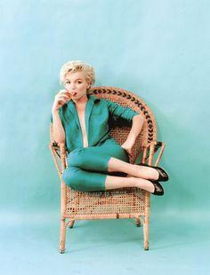 Marilyn Monroe. Wicker chair sitting. Photo by Milton Greene, 1954.