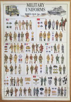 Manía cartel gráfico militar uniformes de WW II cartel 27 x 39