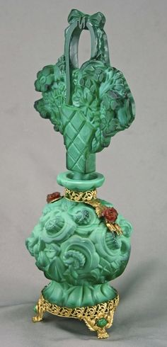 Amy Bergman Antiques - Rare Czech Ingrid Malachite Jeweled Perfume Bottle