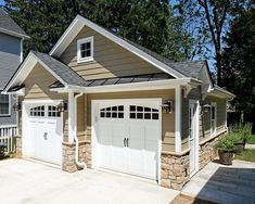 garage door with rounded windows and handles made to look like carriage doors Case Design/Remodeling, Inc. - traditional - garage and shed - dc metro - Case Design/Remodeling, Inc. Shed Design, Door Design, House Design, Building Design, Design Room, Design Exterior, Exterior House Colors, Exterior Shutters, Exterior Trim