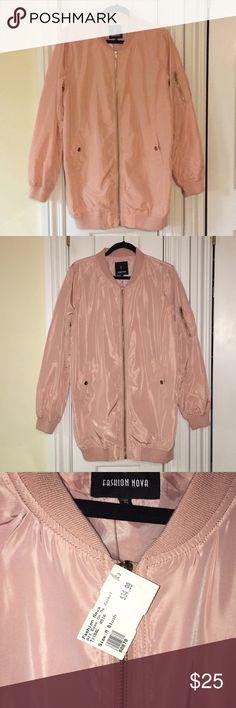 Long Bomber Jacket Mauve lightweight long bomber jacket with nice gold hardware. Brand new with tags. Fashion Nova Jackets & Coats