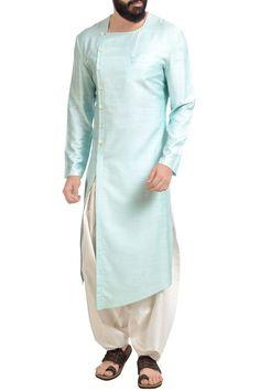Shop Poonam Kasera - Aqua blue muga dupion silk kurta with patiala pants Latest Collection Available at Aza Fashions Kurta Pajama Men, Kurta Men, Salwar Kurta, Mens Kurta Designs, Blouse Designs, Indian Men Fashion, Mens Fashion Suits, Men's Fashion, Fashion Dresses