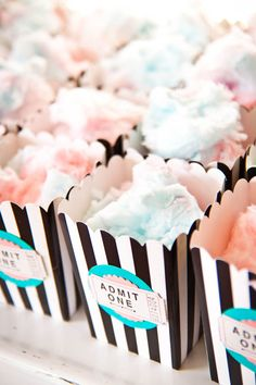 FOOD: Unique black and white striped popcorn cups filled with yummy cotton candy. Cute label, too!