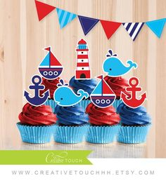 Whale Themed Baby Shower Ideas Nautical Cupcake Toppers Pink and Navy Blue by CreativeTouchhh DIY Me Nautical Cupcake, Nautical Party, Boy Baby Shower Themes, Baby Boy Shower, 1st Birthdays, First Birthday Parties, Juegos Baby Shower Niño, Baby Girl Birthday, Cupcake Toppers