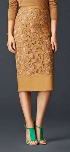 Royal Brown Embroidered Pencil Skirt. I can't wear this color, but love the look.