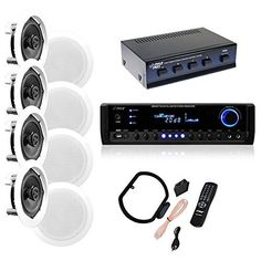 Introducing 4 Pairs of 150W 525 InWall  InCeiling Stereo White Speakers w 300W Digital Home Stereo Receiver w USBSDAUX Input Remote  4 Channel High Power Stereo Speaker Selector. Great Product and follow us to get more updates!
