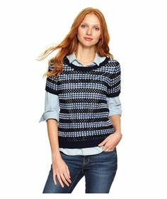 Gap Stripe Open Knit Top - With its open weave and nautical stripes, this playful cotton top is surprisingly versatile: Layer it over a collared shirt, or wear it with a camisole underneath on balmier days. Also available in tall. - To buy: $45, gap.com.
