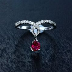 Exquisite 925 Sterling Silver Ring With Ruby - USD $69.95