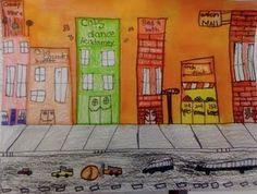 math and art! Cityscape art using rulers- Give kids specific measurements to the nearest quarter inch for each building. Can do length and width and later must find perimeter and area of the building fronts. 4th Grade Art, Fourth Grade Math, Second Grade Math, Grade 2, Classroom Art Projects, Math Classroom, Maths, Flipped Classroom, Classroom Ideas