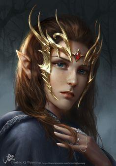 Fantasy & Fairy Tales - ArtStation - The elf, Qichao Wang Elfa, Fantasy Women, Fantasy Girl, Fantasy Artwork, Dnd Characters, Fantasy Characters, Character Portraits, Character Art, Elfen Fantasy