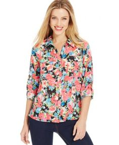 Ny Collection Petite Floral 2-Pocket Button-Up Top