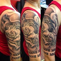 Black and grey roses half sleeve tattoo done by tattoo artist cesar perez from keene ,nh Black And Grey Rose, Black And Grey Tattoos, Half Sleeve Rose Tattoo, Sleeve Tattoos, Sketch Faces, Color Ink, Tattoo Videos, One Step, Grey Roses