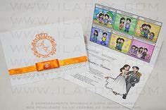convite em tirinhas, tirinhas personalizadas, convite quadrinhos, convite original, convite divertido, convite para casamento, convite diferente, by ila fox