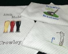 Towels, Golf Hand Towels, Sports Embroidered/Monogrammed Towels, Groomsmen Gifts, Man Cave, Bar Mop, 3 Piece Gift Set.
