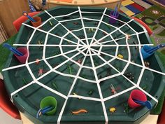 EYFS Finger gym - catching bugs spider web Eyfs Activities, Nursery Activities, Motor Skills Activities, Color Activities, Toddler Activities, Baby Sensory, Sensory Bins, Incy Wincy Spider Activities, Tuff Tray Ideas Toddlers