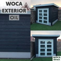 Woca Exterior Oil in Black. Outdoor Art, Outdoor Decor, Rough Wood, Bike Shed, Exposed Wood, Wood Surface, Exterior Doors, Building Materials, Log Homes