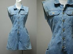 1990's Faded Denim Romper  90's Grunge Girl by LittleGhostVintage