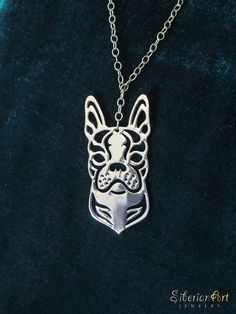 Boston Terrier - silver, dog jewelry - pendant and necklace. $75.00, via Etsy.  I GOTTA HAVE THIS!!!