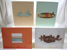 "Handcrafted by Teal Palmetto, LLC.  Three ""thank you"" cards and one ""hello"" card make up this set.  They are crafted primarily in the colors of teal, orange, and brown.  Price: $10."