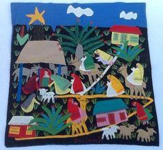 Vintage Peruvian Arpillera Nativity Hand Made Applique Tapestry Folk Art Party Fun, Best Part Of Me, Handmade Art, Textile Art, Nativity, Folk Art, Christmas Ideas, Applique, Diy Projects