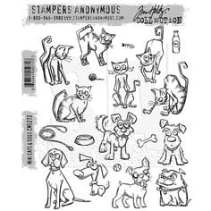 RESERVE Tim Holtz Cling Rubber Stamps 2016 MINI CRAZY CATS AND DOGS CMS272