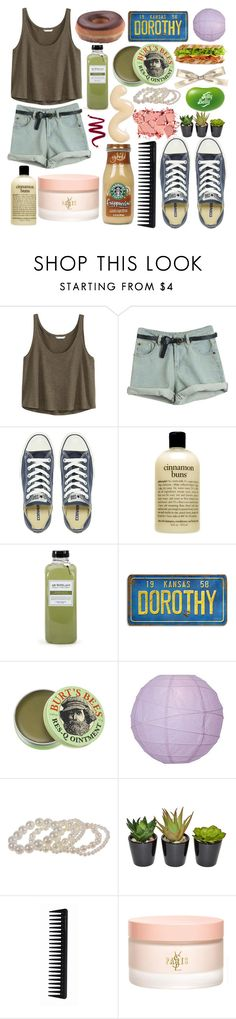 """""""idols & anchors"""" by paper-towns ❤ liked on Polyvore featuring H&M, Converse, philosophy, Archipelago Botanicals, Burt's Bees, Jelly Belly, Replenix, The French Bee, GHD and Yves Saint Laurent"""