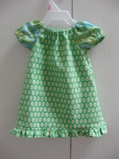 Baby girl peasant dress #1....greens and blues :)