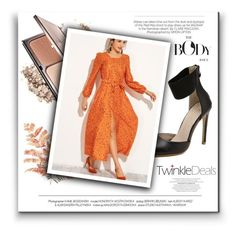"""Orange dress"" by alinnas ❤ liked on Polyvore featuring Kershaw"
