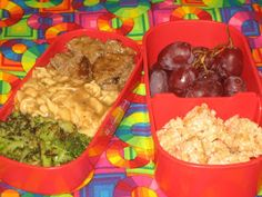 The bottom part has salisbury steak that has been chopped into smaller pieces, the egg noodles mentioned above with brown gravy and sautéed broccoli. Now the top part is filled with a bunch of grapes and a Rice Krispies Treats® that I cut in half and spread peanut butter on it. I then cut it in small bights.