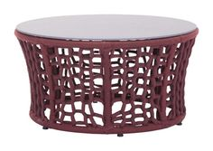 Faye Bay Beach Outdoor Coffee Table in Cranberry Acrylic Fiber