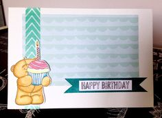 Birthday Card. I colored the bear with watercolor
