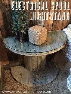 DIY Spool to Vintage Farmhouse Nightstand