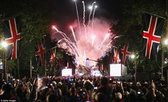 Red sky at night: The Union Jacks were out in force along the famous red-surfaced street to celebrate the Diamond Jubilee of a monarch for only the second time in history