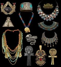 Ancient Egyptian Jewelry and I want it all!!! Actually, a few of these pieces I do have replicas of on the store, but not as many as I would like! by felicia