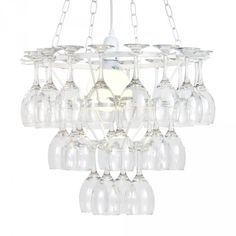 3 Tier Wine Glass Chandelier - White from Litecraft. Wine Glass Chandelier, White Chandelier, Glass Vase, Crystal Uses, Crystal Wine Glasses, Wine Decor, Craft Day, Ceiling Lights, Crystals