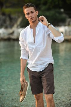 stylish casual summer outfits ideas for mens 17 - Fashion For Men - # Short Kaki, Beach Style, Trendy Summer Outfits, Beach Outfits, Beach Outfit For Men, Style Masculin, Look Man, Men Beach, Summer Shirts