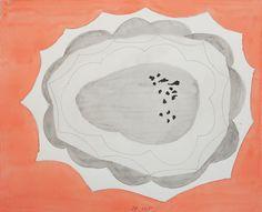 Jürgen Partenheimer, »100/12 Cold Mountain, Inside the clouds, it's always deserted«, 2015 | Aquarell, Tusche und Bleistift auf Papier | Blattmasse 27 x 33 cm