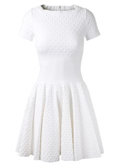 Azzedine Alaïa Dresses :: Azzedine Alaïa white stretch embossed knitted dotted dress | Montaigne Market