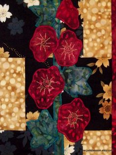 Hollyhocks Art Quilt Wall HangingQuilted by PatsPassion on Etsy