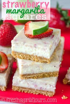 Strawberry Margarita Squares: A tart and creamy lime cheesecake filling is bursting with juicy strawberries and jazzed up with tequila. Perfect for a summer picnic! (minus the Margarita for me)