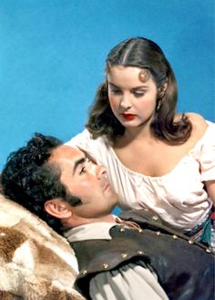 Tyrone Power & Jean Peters- in production still from ''The Captain From Castile'' 1947
